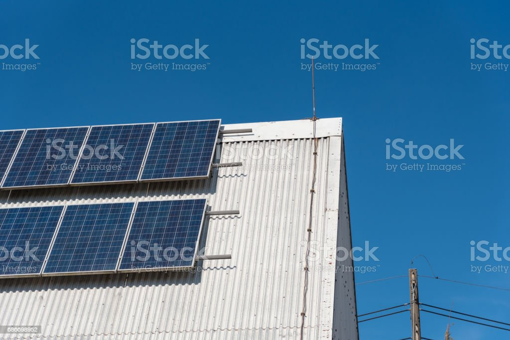 power energy innovation in future , solar cell panel on rooftop of house . stock photo
