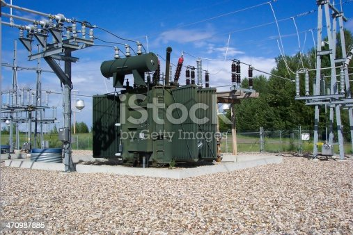 Power grid at Hydro Dam in Alberta Canada.