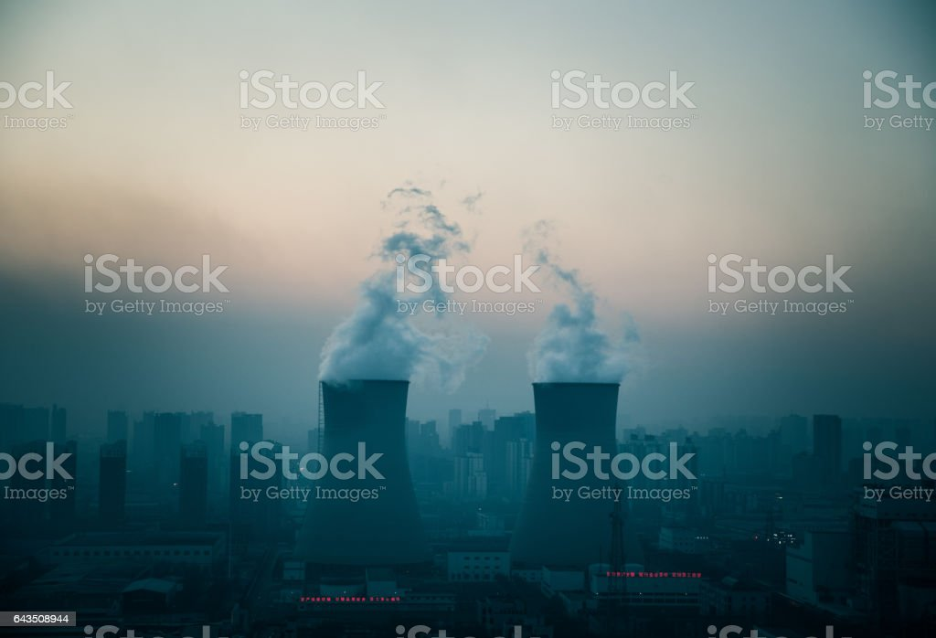 Power generates electricity, burning fossil fuel stock photo