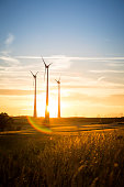 wind turbines in the countryside in the evening