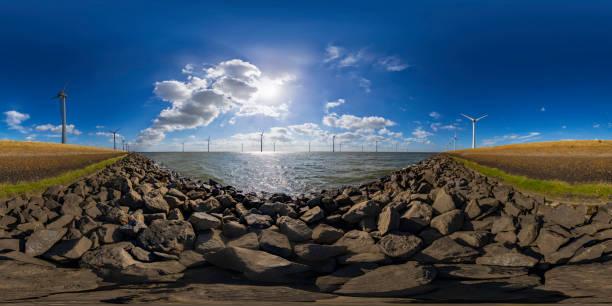 turbinas de viento (panorama de 360 grados) de generación de energía - 360 fotografías e imágenes de stock