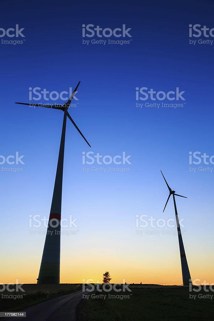 power generating wind turbines royalty-free stock photo
