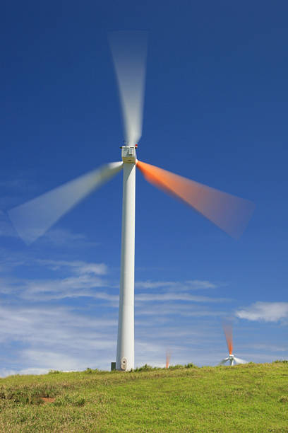 Power generating windmill stock photo