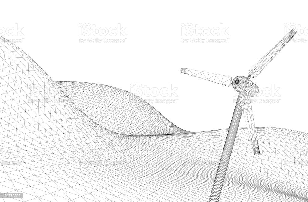 Power Generating Windmill (white background) royalty-free stock photo