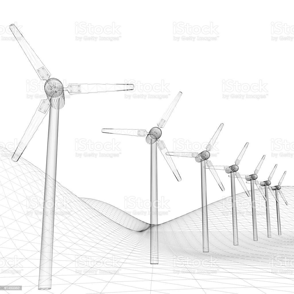 Power Generating Windmills (white background) stock photo