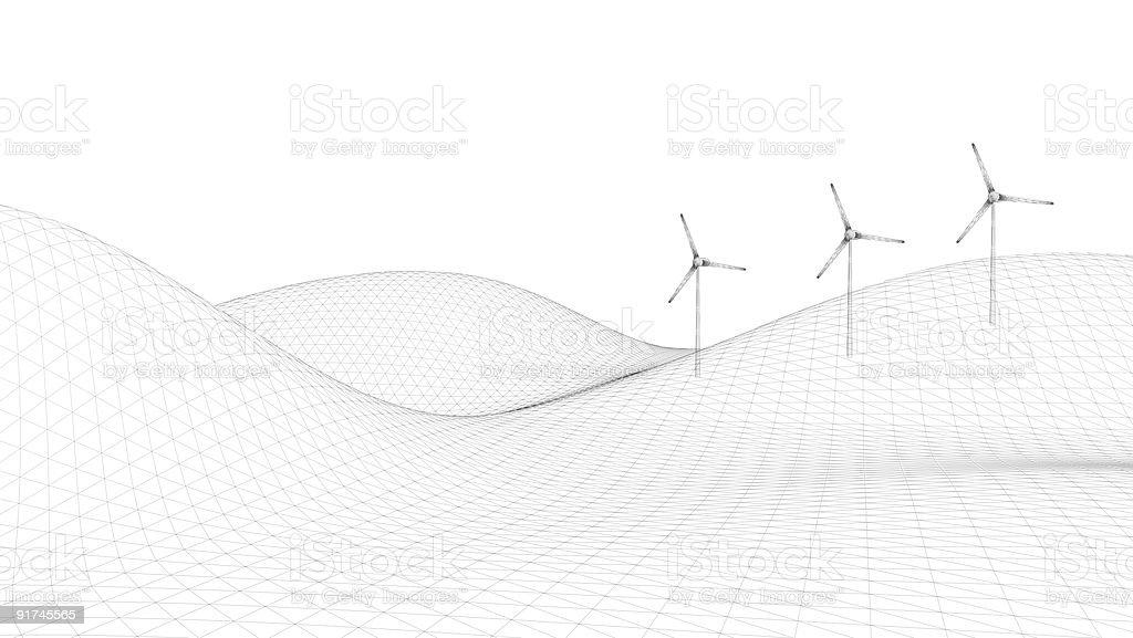 Power Generating Windmills (on white background) royalty-free stock photo