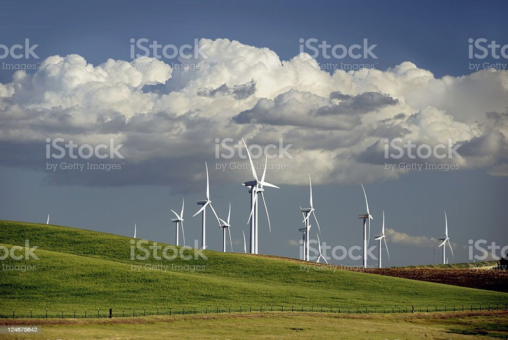 Power generating windmills working on a grassy hill stock photo