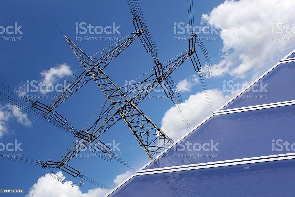 Power generation by solar energy stock photo