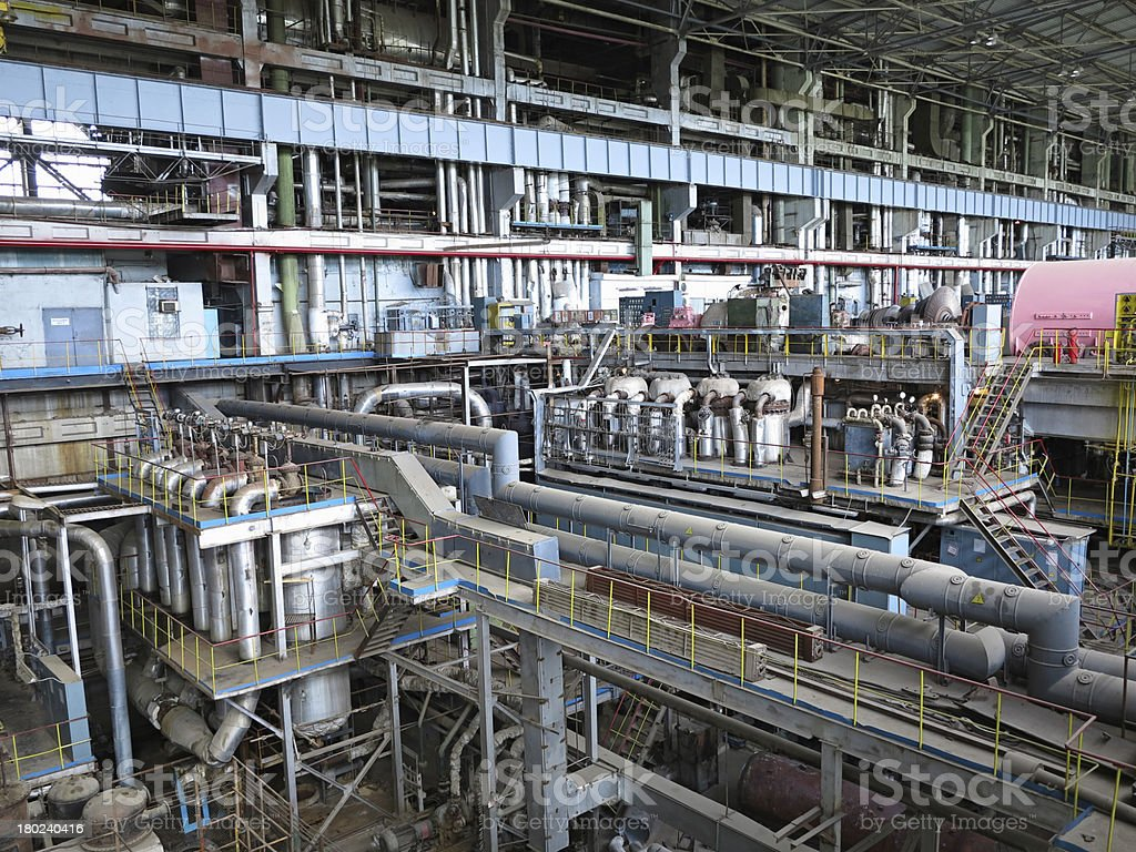 Power generator and steam turbine during repair royalty-free stock photo