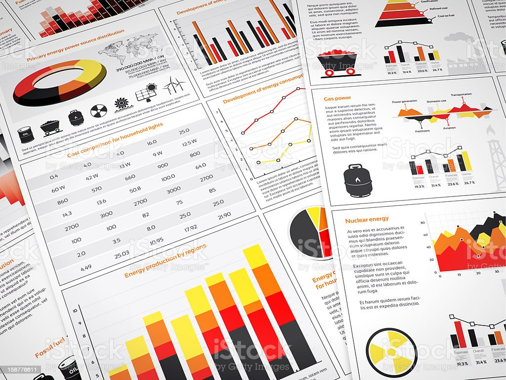 Power graphs and charts stock photo