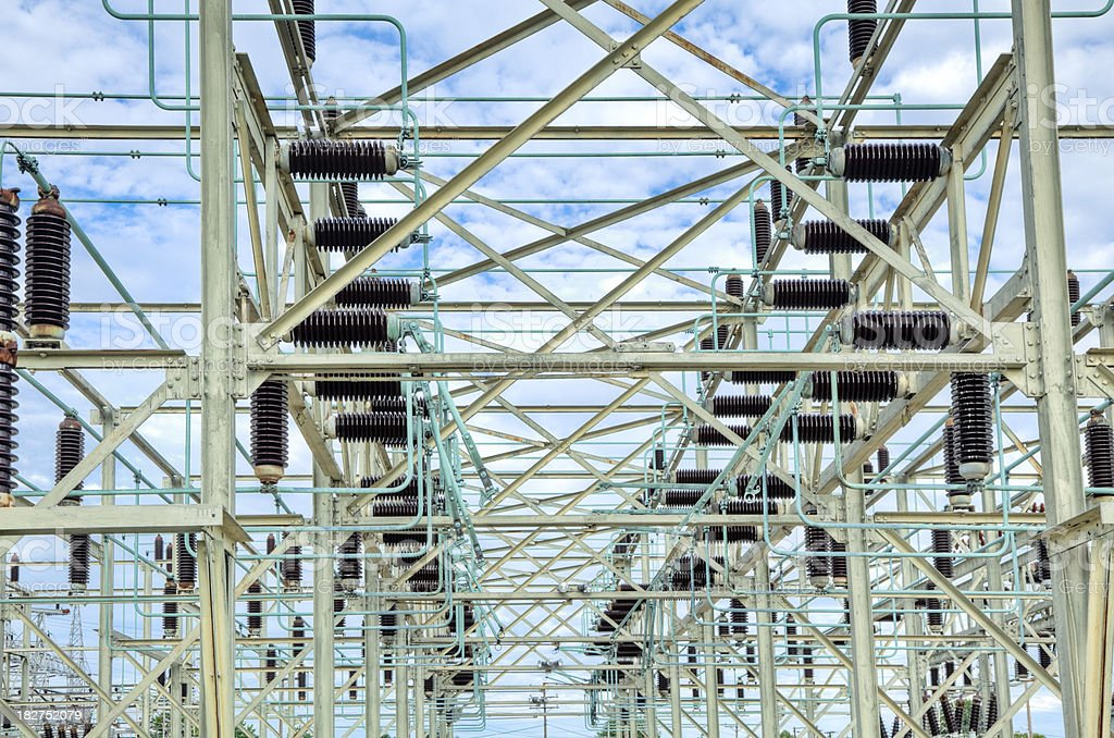Power Grid at an Electric Utility Substation royalty-free stock photo