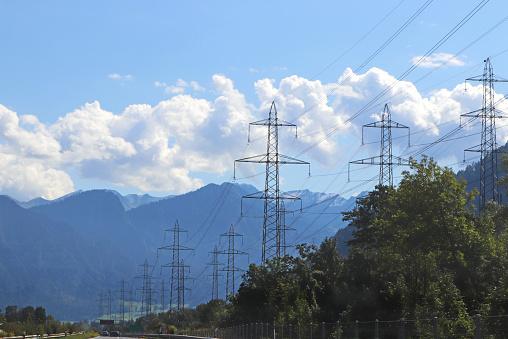 power grid beside a highway