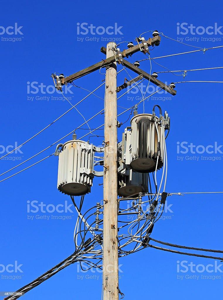 Power grid electrical transformer box stock photo