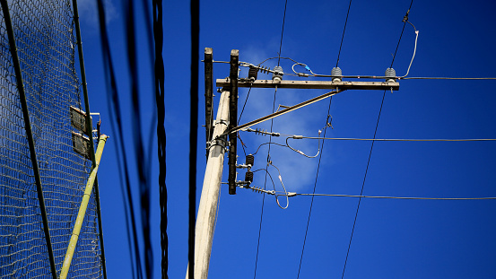 salvador, bahia / brazil - july 4, 2020: electricity grid pole is seen in the city of Salvador.