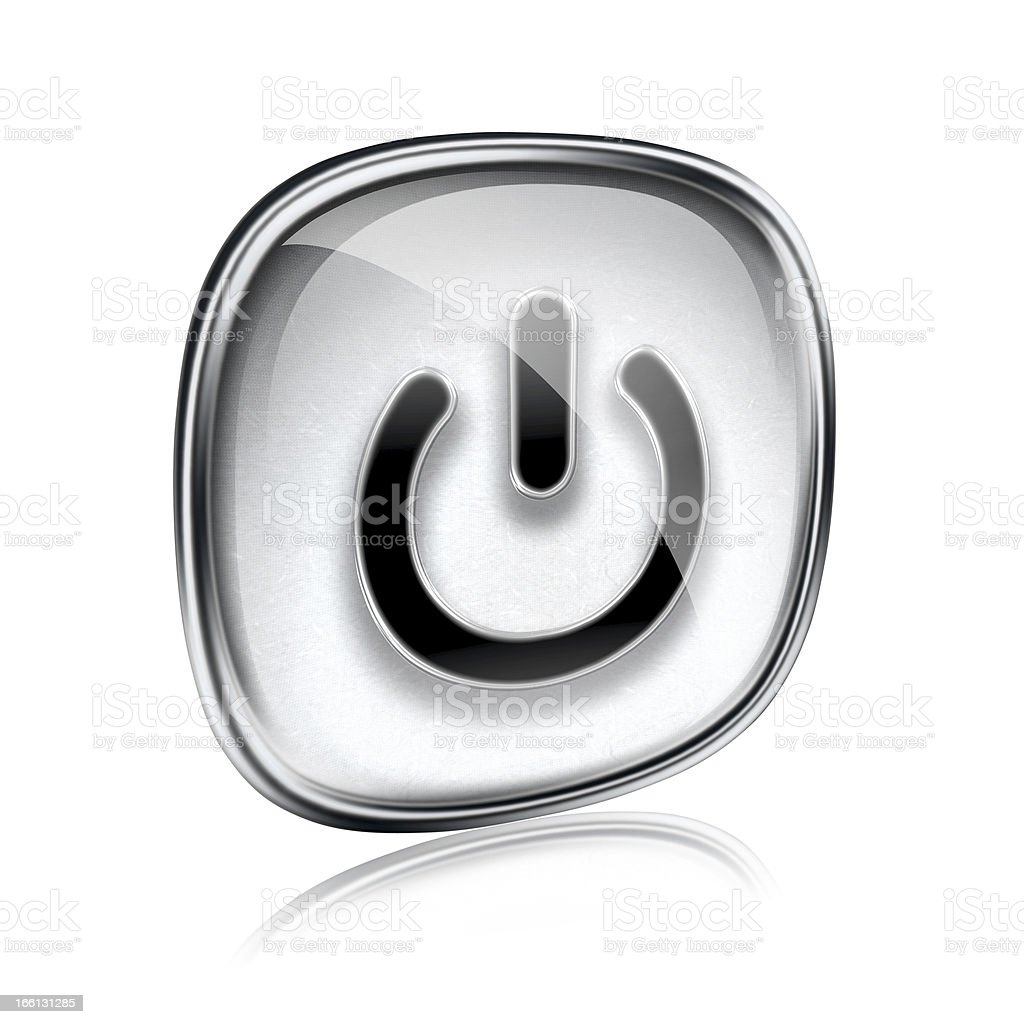 power icon grey glass, isolated on white background. royalty-free stock photo