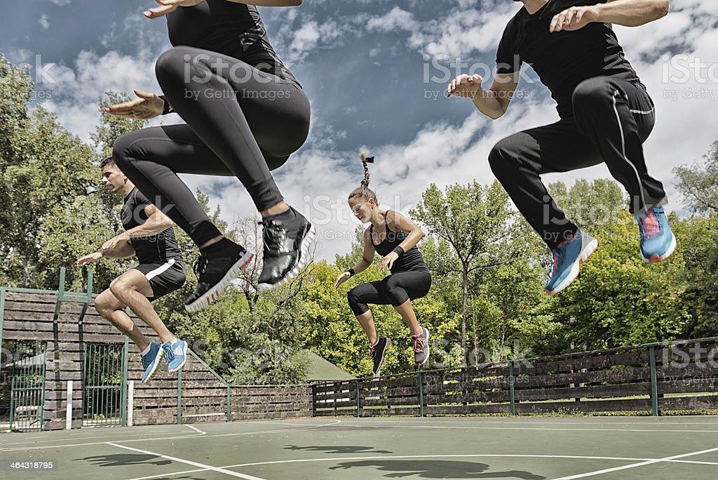 Power jump exercise stock photo
