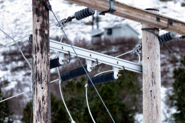 Power Line Cable at Winter stock photo