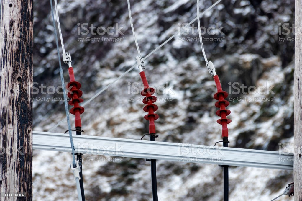 Power Line Cable at Winter - Royalty-free Cable Stock Photo