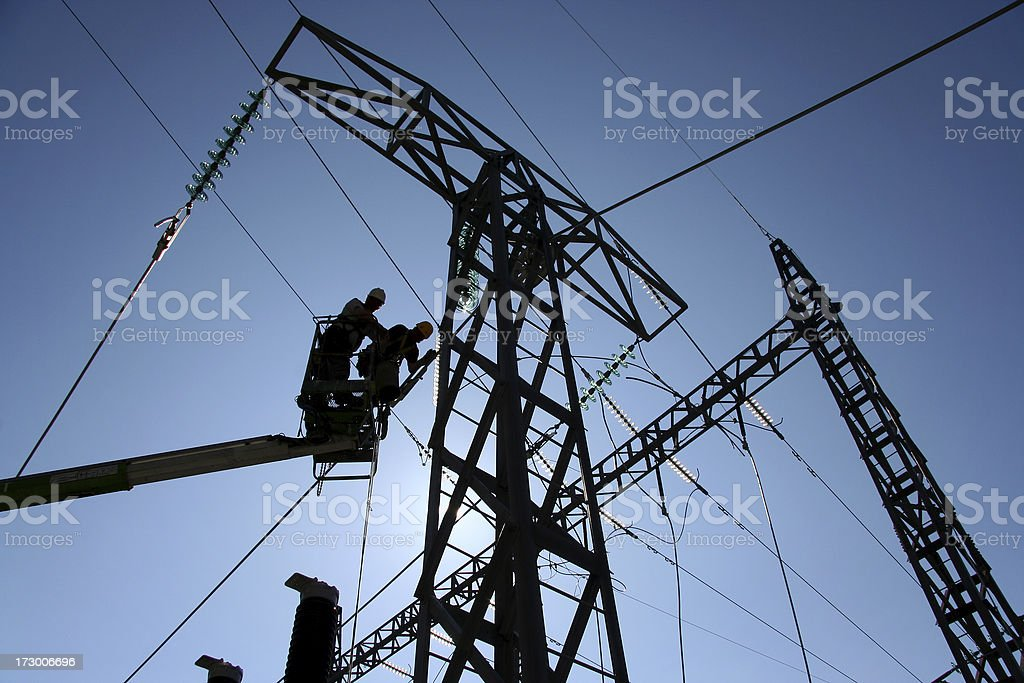 Power line construction stock photo