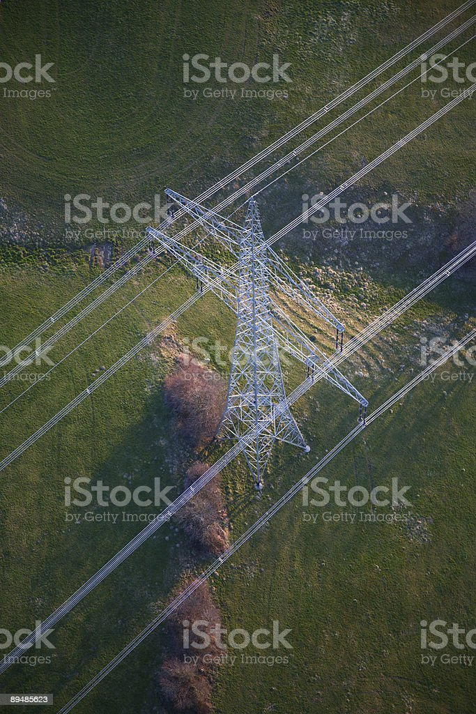 Power line from above royalty-free stock photo