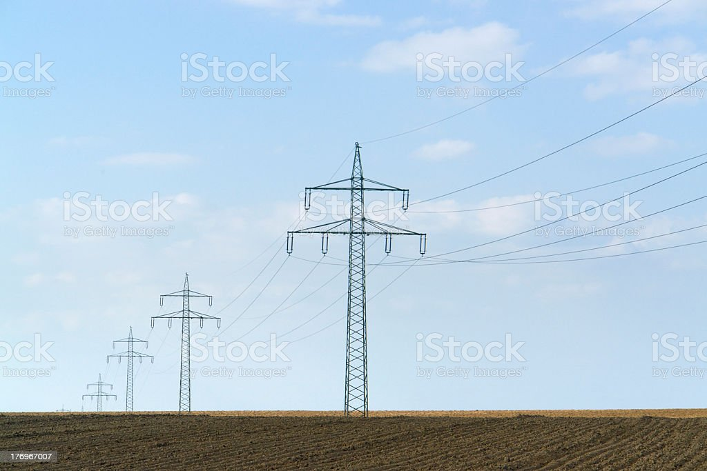 power line in Southern Germany royalty-free stock photo