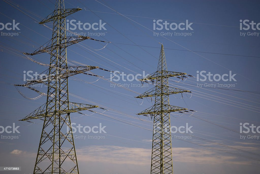 Power Line in the evening stock photo