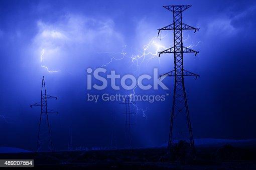 Power Line Blitz Gewitter Storm Electricity Pylon Stock-Fotografie ...