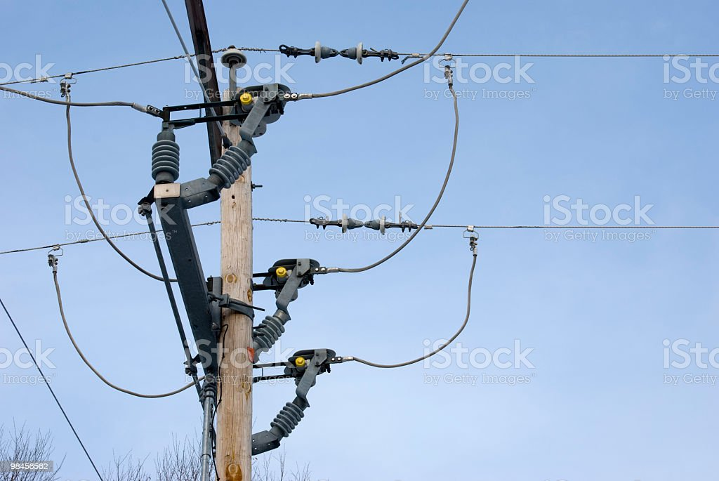 power line post, poteau electric royalty-free stock photo