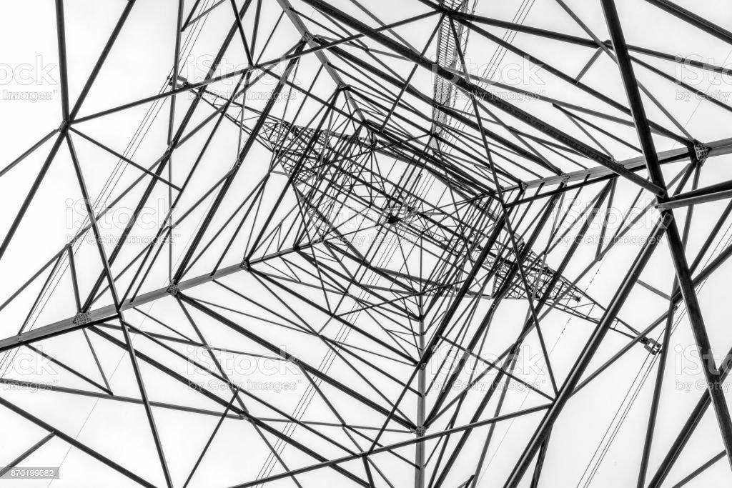 power line pylon silhouette stock photo