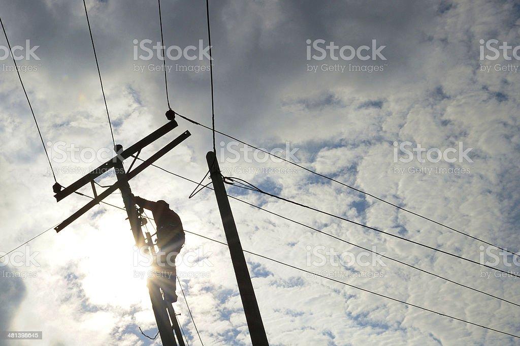 Power line repair royalty-free stock photo