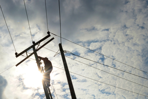 Power Line Repair Stock Photo - Download Image Now