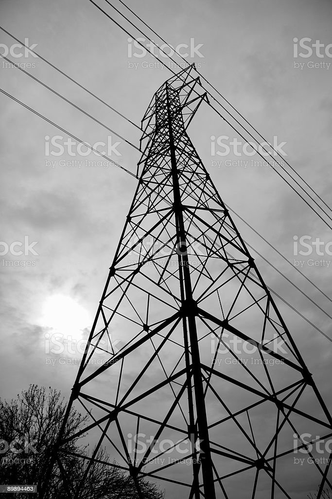 Power line support tower royalty-free stock photo
