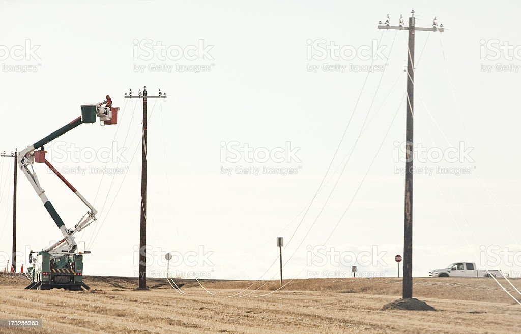 Power Line Technicians Stringing Cable stock photo