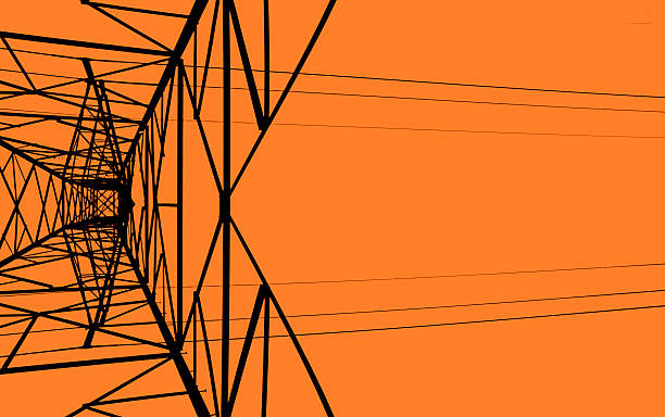 power-linie turm-gerade - stromkabel stock-fotos und bilder