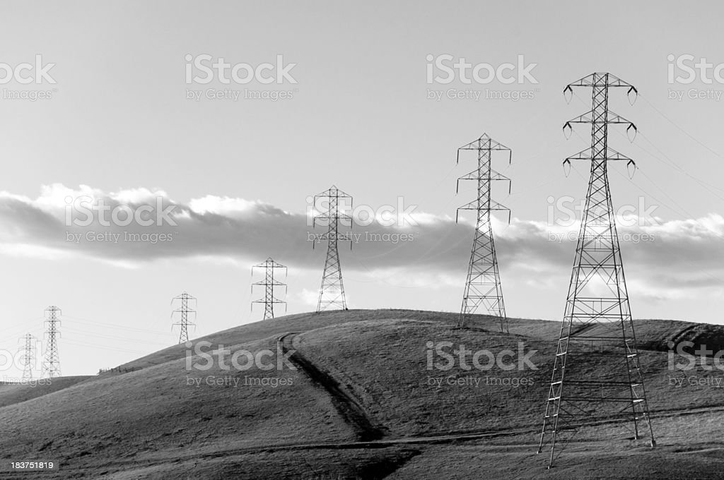 Power Line Towers Close-up stock photo