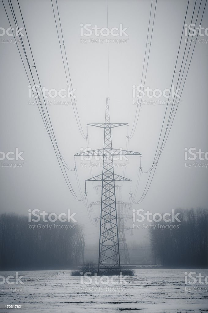 Power Line Towers royalty-free stock photo
