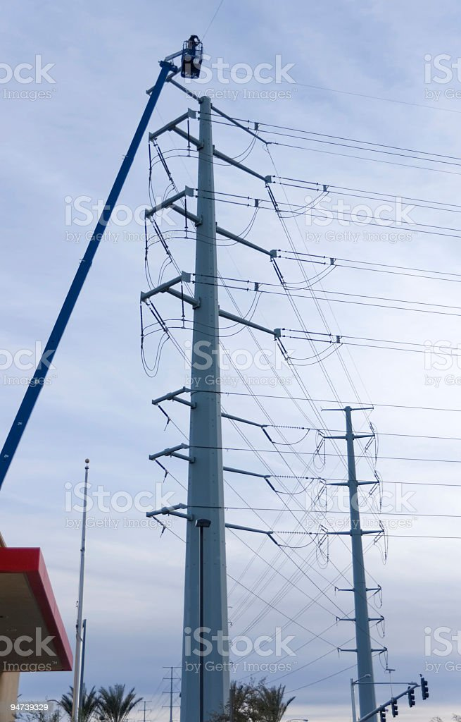 Power Line Workers royalty-free stock photo