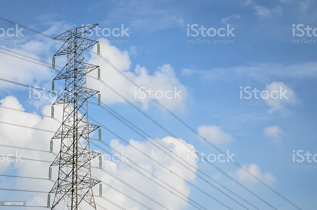 Power lines against the blue sky in Thailand stock photo