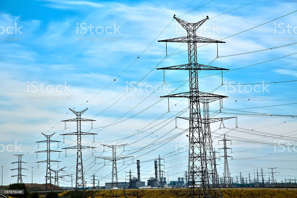 Power Lines and Phosphate Quarry royalty-free stock photo