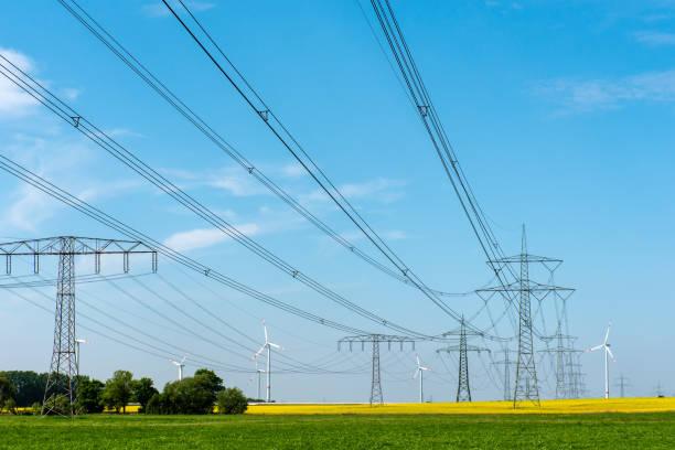 Stromleitungen und Windkraftanlagen – Foto
