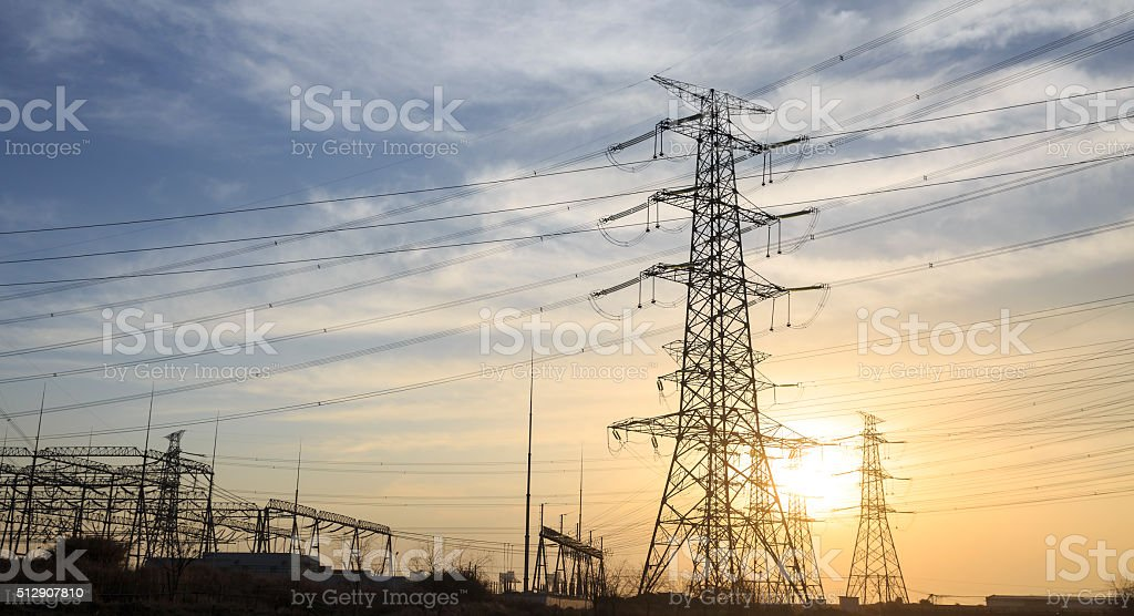 Power Lines at Sunset. stock photo