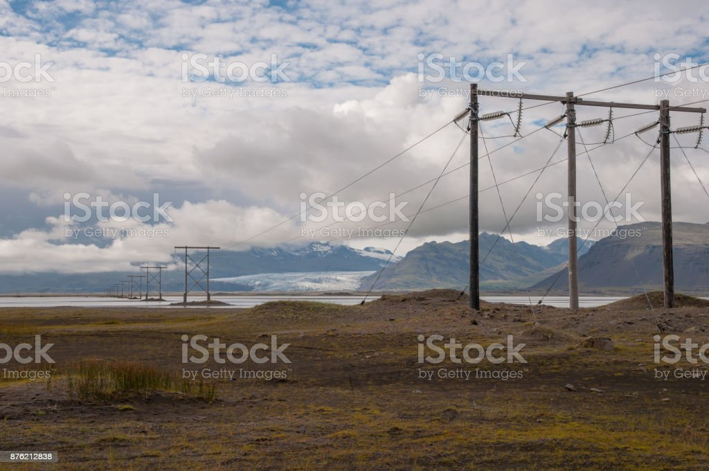 power lines in Icelandic landscape stock photo