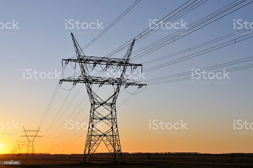 power lines in sunset royalty-free stock photo