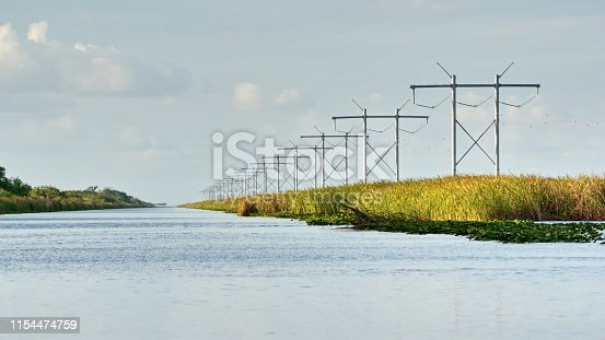Power lines running along the shore of a canal in Everglades National Park, near Fort Lauderdale, Florida, USA