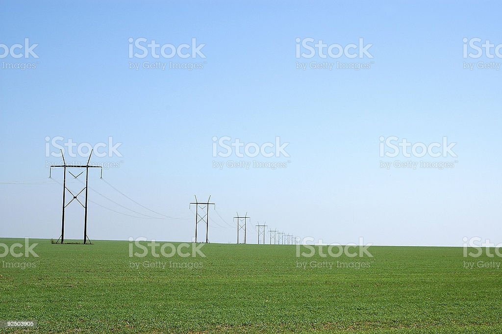 Power Lines in West Texas Field royalty-free stock photo