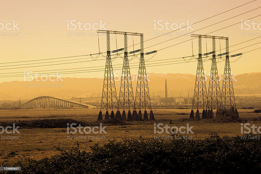 Power Lines Industrial Silhouette stock photo