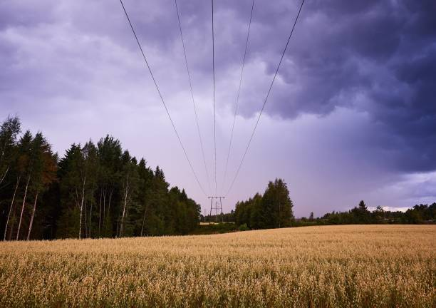 Power lines leading to horizon in stormy countryside landscape image stock photo