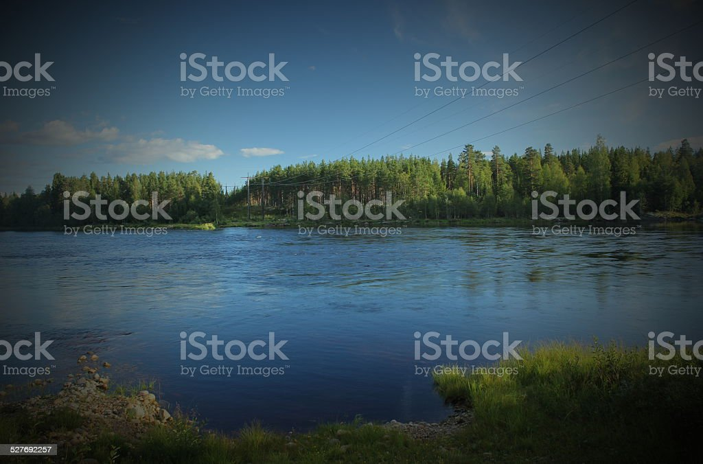 Power Lines Over River stock photo