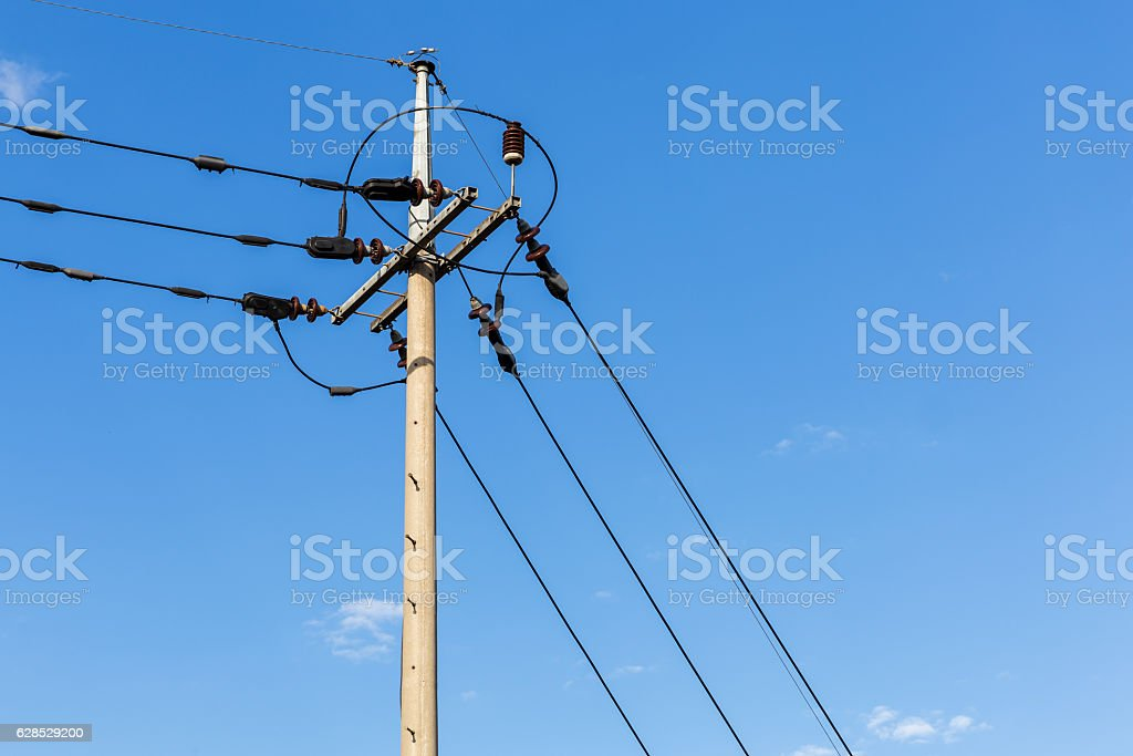 Power lines stock photo