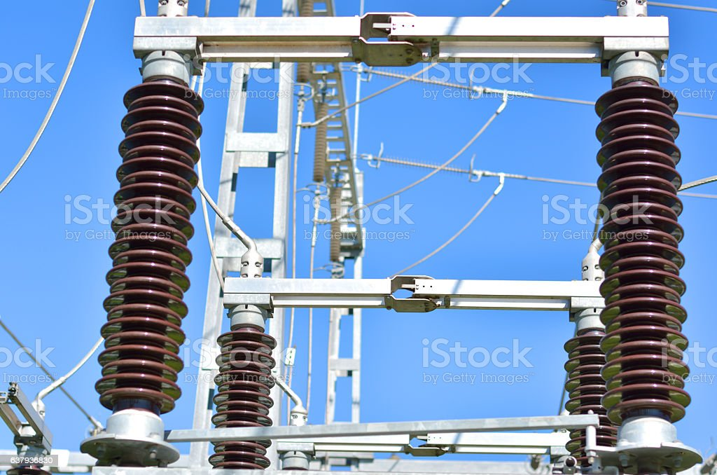 Power Lines with Blue Sky stock photo